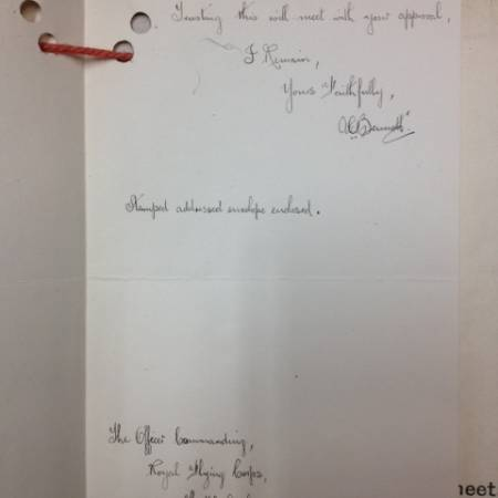Letter to Royal Flying Corps - page 2