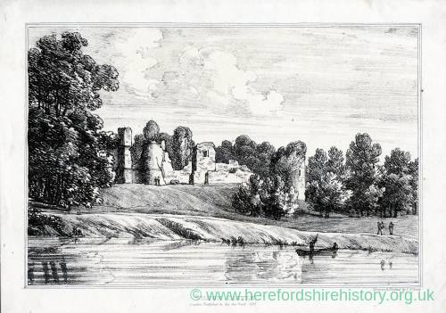 Wilton Castle, Ross-on-Wye, Herefordshire, print of remains by Ino Geo Wood, 1815