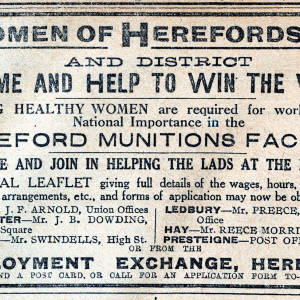 Women of Herefordshire and district - come and help to win the war