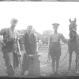 Three soldiers with horse and anvil