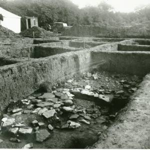 Sutton Walls,floor of hut and postholes, 1949