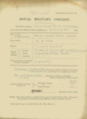 Philip Watson -  RMC Form 18A Personal Detail Sheets Jan & Sept 1920 Intake