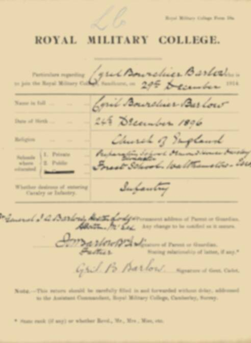 RMC Form 18A Personal Detail Sheets Jan 1915 Intake - page 15