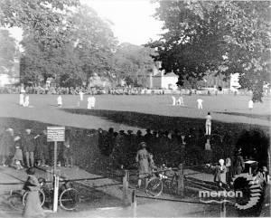 Jack Hobbs playing cricket on Lower Green, Mitcham
