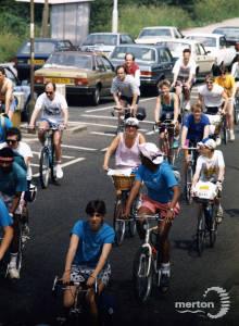 Cycle Fun Run through Mitcham.  London to Brighton