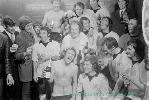 The team celebrate Hereford United's 2–1 victory over Newcastle United 1972
