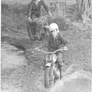 Two motorcyclists in a scrambling event.