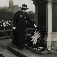 Bootle War Memorial Mrs McNaught laying a Wreath