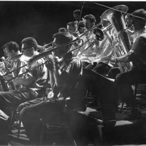 A brass section in full swing, 1950s.