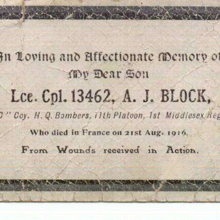 Memorial Card - Arthur James Block