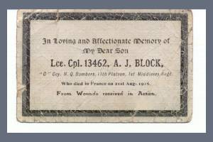 Memorial Card - Arthur James Block