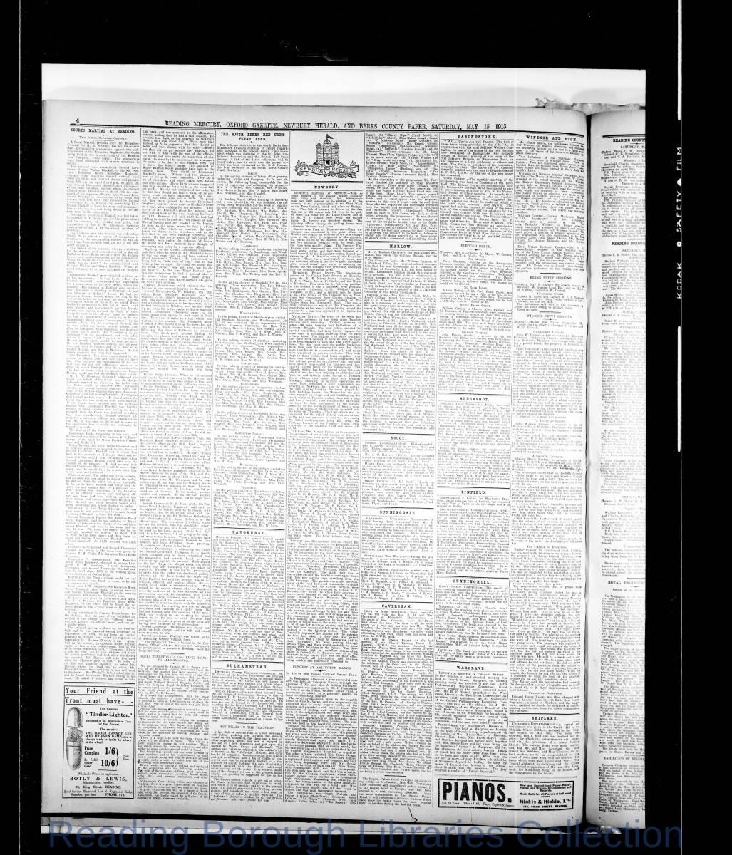 Reading Mercury Oxford Gazette Saturday May 15, 1915. Pg 4