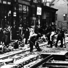 Laying of tram track in Fowler Street