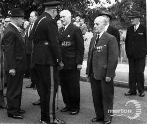 Unveiling of the War memorial, Mitcham Home Guard killed at the Tower Creameries, Mitcham,  1941