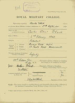 Charles Bleck -  RMC Form 18A Personal Detail Sheets Jan & Sept 1920 Intake