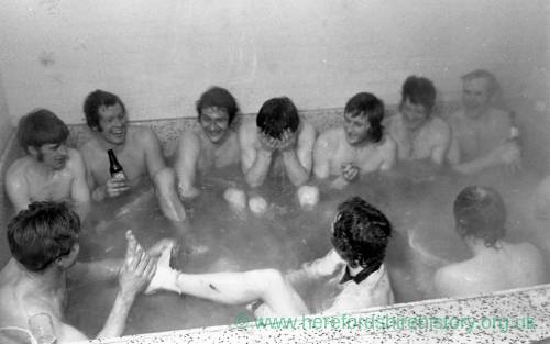 Hereford United players in the dressing room celebrating the cup win over Newcastle, Feb 1972.