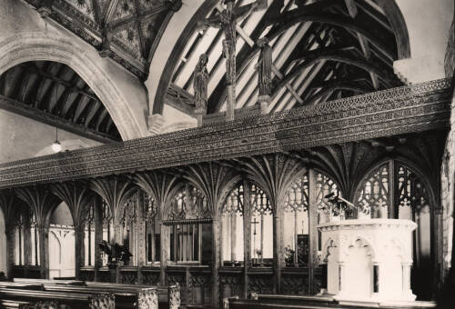 Interior of Lapford Church, c1930, Lapford