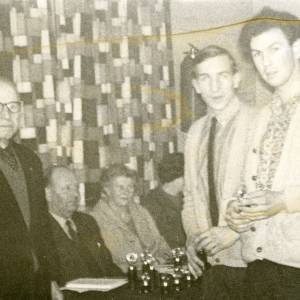 AMT005 Prize giving at Ross Youth Club - Charile Watkins and Roger Roberts recieving their trophies, The Old Drill Hall, Hill Street, Ross-on-Wye 1960s.jpg