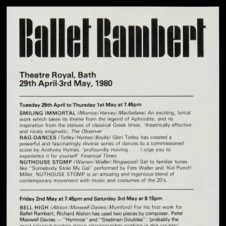 Theatre Royal, Bath, April–May 1980