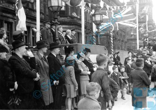 A Side-view of the Dais at the Bootle Victory Parade in 1945