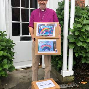 Bishop of hereford Rt Rev Richard Jackson and home safe boxes
