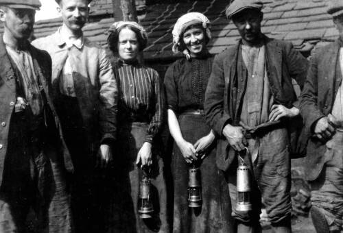 120 Photograph of male & female coal workers