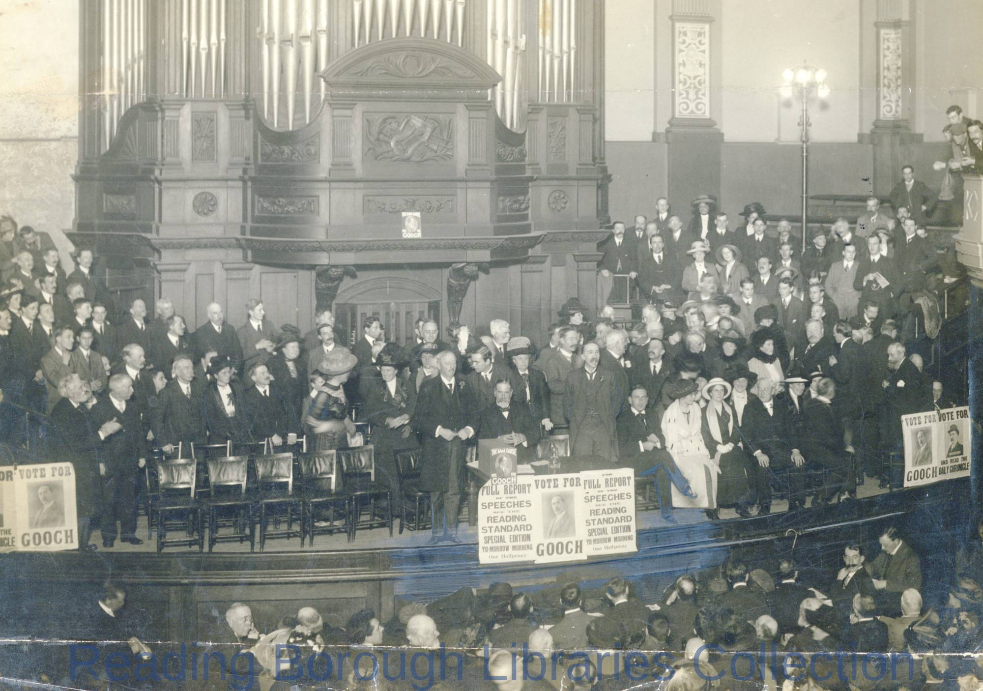 Liberal Party meeting at Mill Lane, Reading, January 1910. Meeting addressed by David Lloyd George