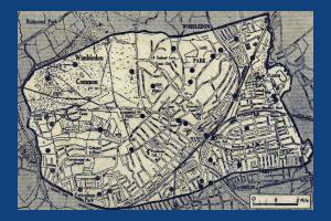 Map showing areas of Wimbledon hit by flying bombs during World War II