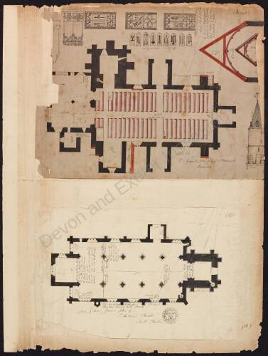 Ground plan, St Brannock's, Braunton and  ground plan, St Andrew's Church, South Tawton
