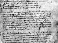 The Canons, Mitcham: Fragment of 14th C manuscript regarding hall in Mitcham