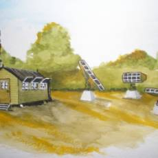 1939 - 1945 Watercolour Painting of an Installation on Sundon Road Houghton Regis by Colin Bird