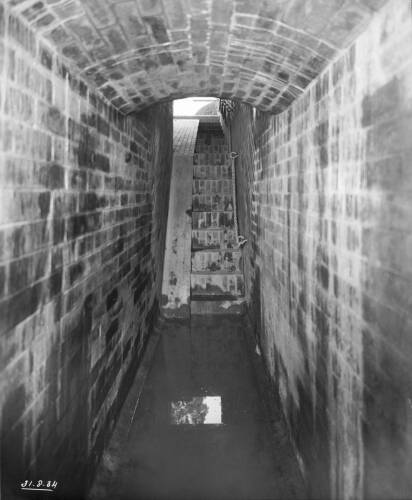 Interior of syphon under River Brent and inlet duct of syphon