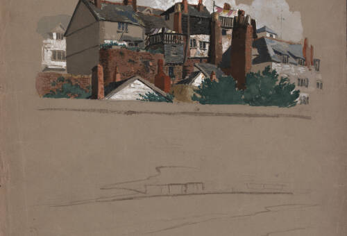 Old houses on city wall from Commercial Road, c1860, Exeter
