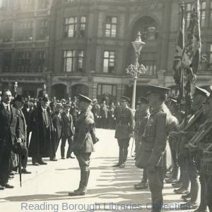 The Return of the 2nd Battalion Royal Berkshire Regiment on 17 May 1919. The men are being addressed by Colonel Leslie Wilson M.P. outside Reading Town Hall.