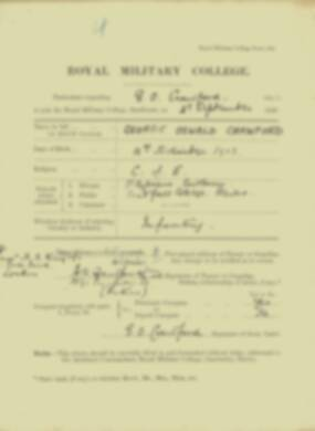 George Crawford -  RMC Form 18A Personal Detail Sheets Jan & Sept 1920 Intake