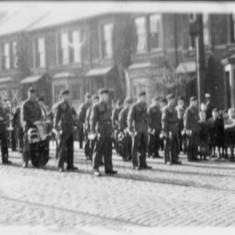 Durham Light Infantry Band preparing to march.