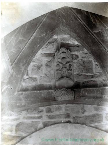 Yarkhill church cross head in porch, 1929