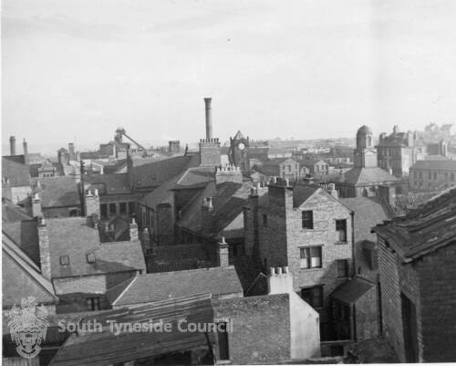 A View Across Rooftops To The Old Town Hall And St Hildas Church