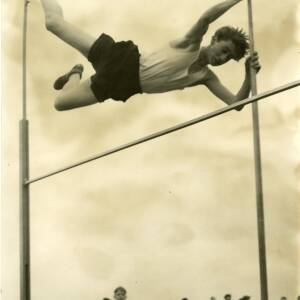 A pole vaulter in action.