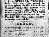 Vestry notice showing wage  / relief rates for the poor