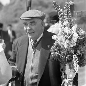 Gentleman with his decorated floral stick at the  Heart of Oak Club Walk, Fownhope June 9th, 1969