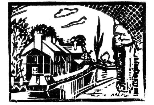 Lino print showing under Lymm Bridge by Dorothea Rowlinson