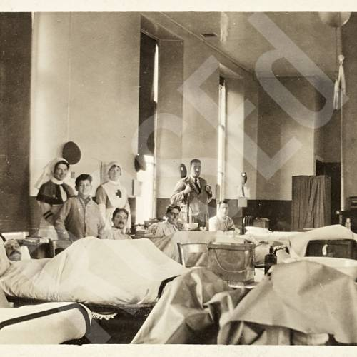 Nurses and Recuperating Patients in Hospital Ward