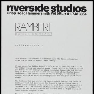 Riverside Studios, London, September 1987