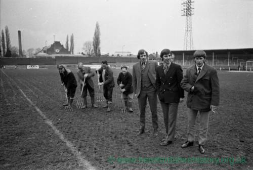 Alan Jones, Colin Addison and Roger Griffiths inspect the Edgar Street pitch Jan 1972.