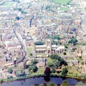 Hereford Cathedral and City, aerial view, c1976