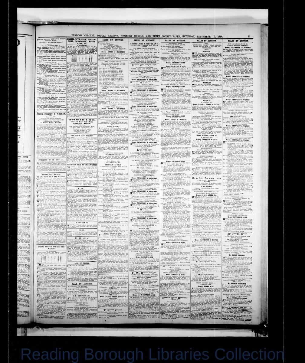 Reading Mercury Oxford Gazette Saturday,  September 2, 1916. Pg 5