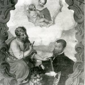 G36-213-12 Painting of St Mark giving nobleman a Gospel & pointing to virgin & child  .jpg