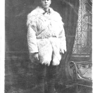 Soldier in winter uniform, including fur jacket