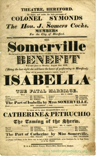 Somerville benefit - Isabella or The Fatal Marriage, Hereford 1818